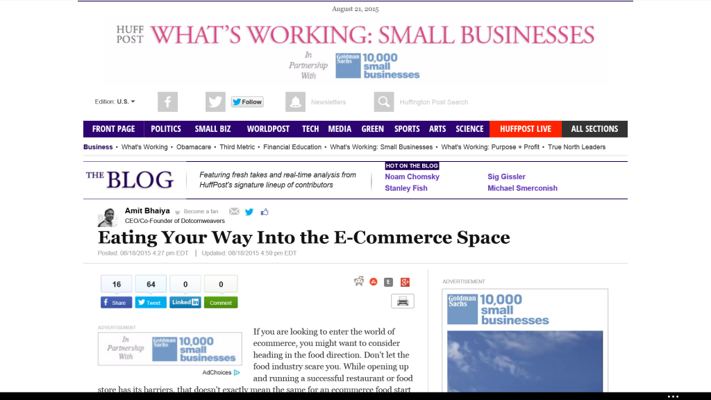 HuffPo: Eating Your Way Into the E-Commerce Space